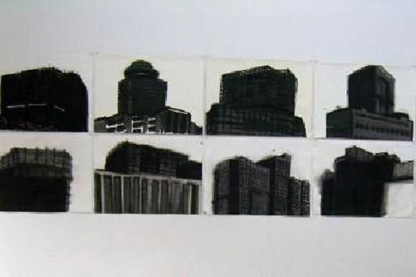 """dressed buildings, 2010, Tusche auf Papier, je 38 x 53 cm"