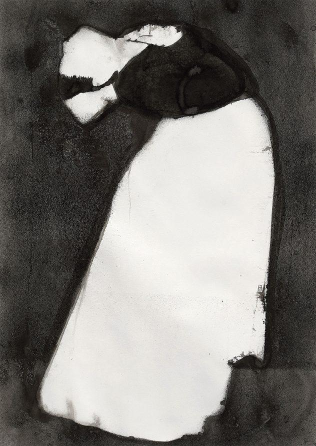 Letizia Werth: Arc de cercle, 2018 ink painting on paper 150 x 100 cm