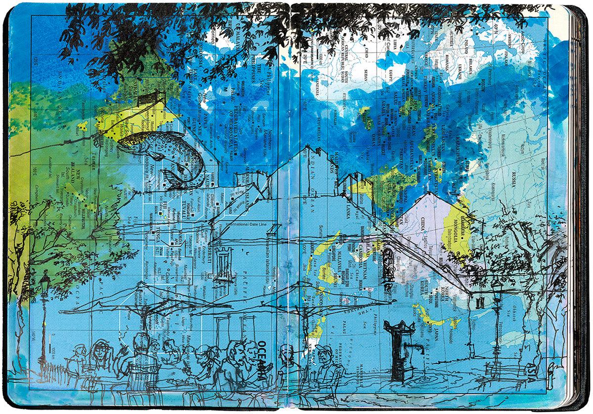 Olaf Osten: Pendeln 251 / Wien Himmelpfortgrund, Farbstift auf Taschenkalender, 2020