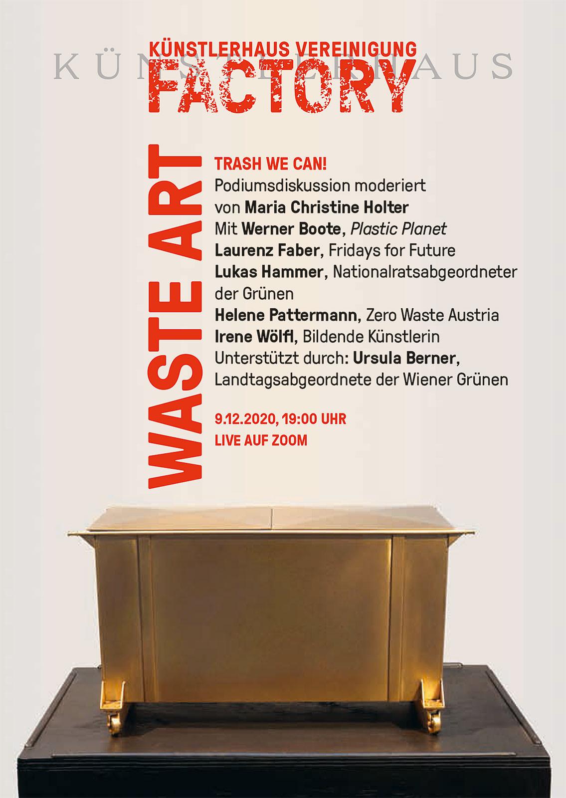 Plakat Waste Art Talk. Programmdetails und ein goldener Sakropharg