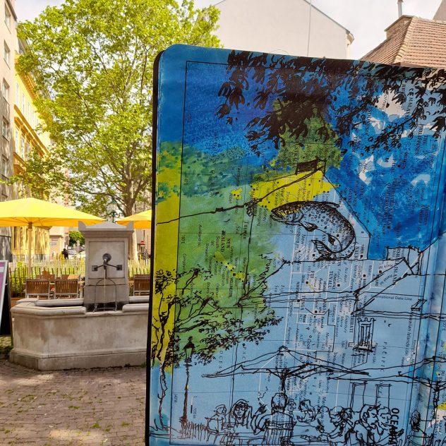"""THINK GLOBAL, DRAW LOCAL — Kunst und Klima am Sobieskiplatz, Wien 9 Fr 28. und Sa 29. Mai 2021 ein Projekt von Olaf Osten und Maria C. Holter im Rahmen von """"Kultur im Alser9rund"""""""