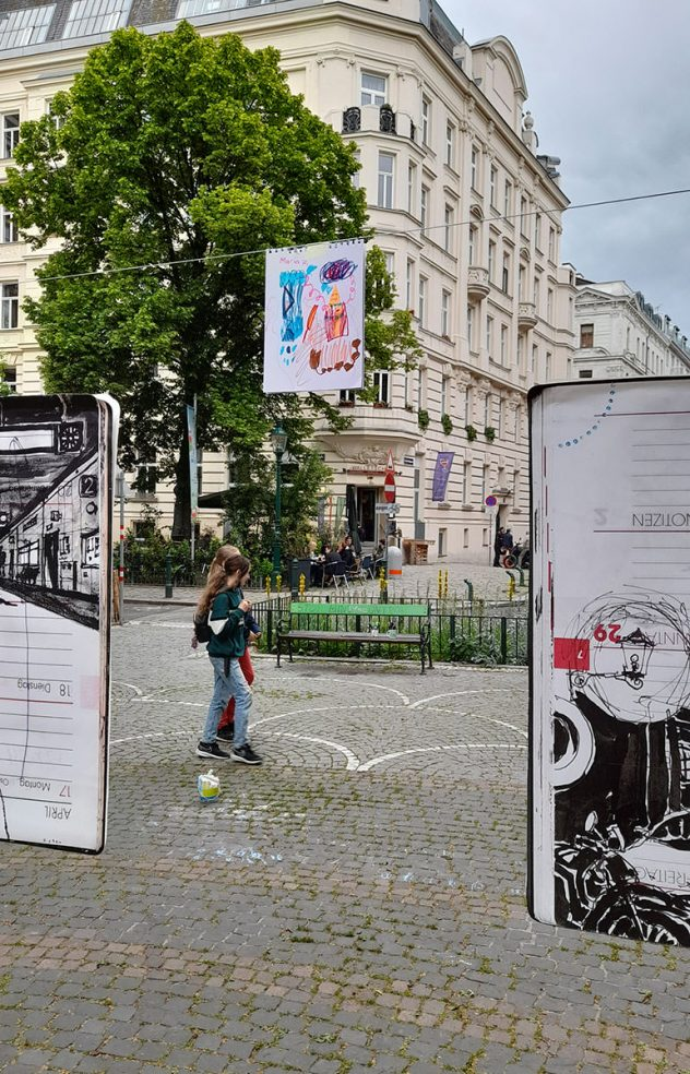 """THINK GLOBAL, DRAW LOCAL — Kunst und Klima am Sobieskiplatz, Wien 9Fr 28. und Sa 29. Mai 2021ein Projekt von Olaf Osten und Maria C. Holter im Rahmen von """"Kultur im Alser9rund"""""""